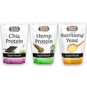 Protein Powder Power Pack - Chia Protein, Hemp Protein, Nutritional Yeast - Foods Alive
