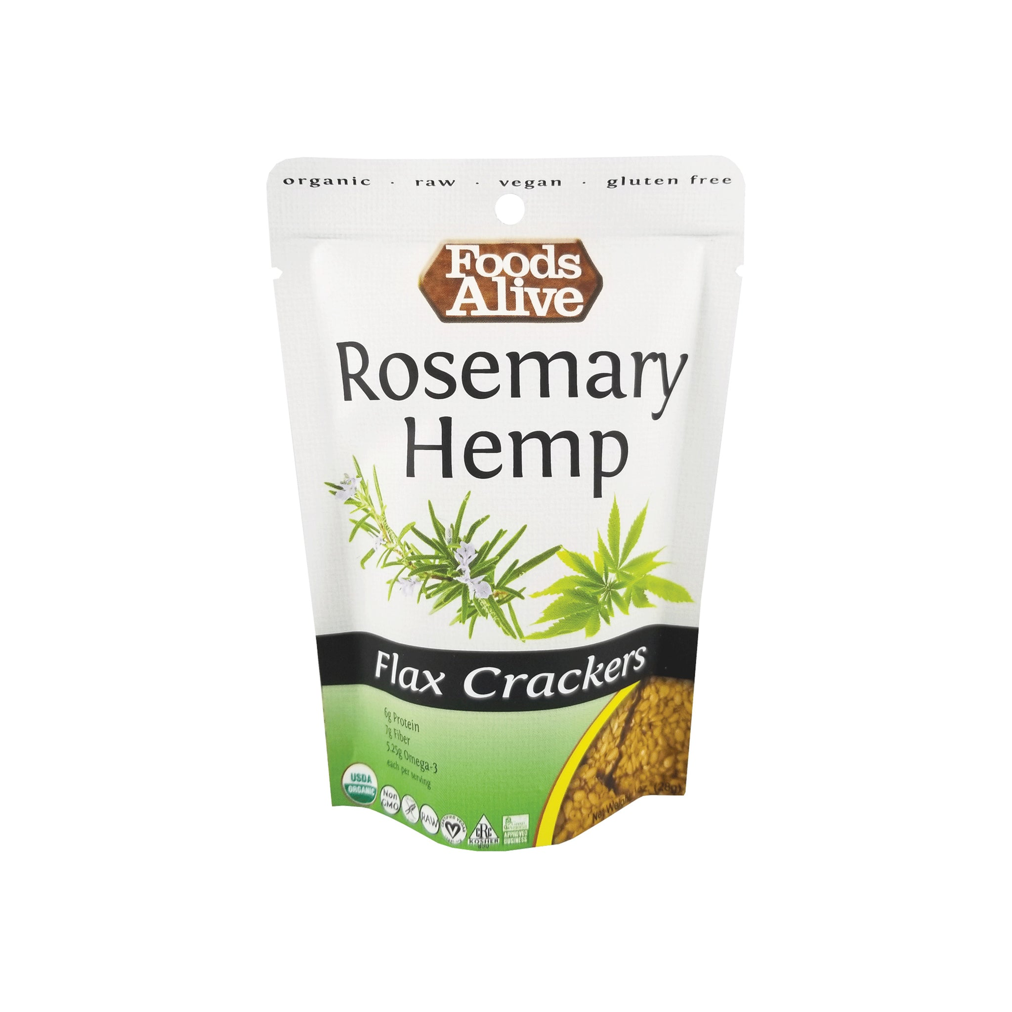 Foods Alive - Organic Flax Crackers - Hemp - 1 oz - Front