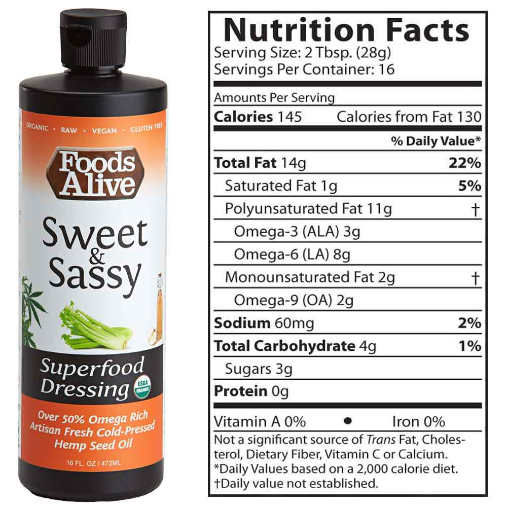 Foods Alive - Sweet and Sassy Organic Hemp Oil Superfood Dressing - 16oz