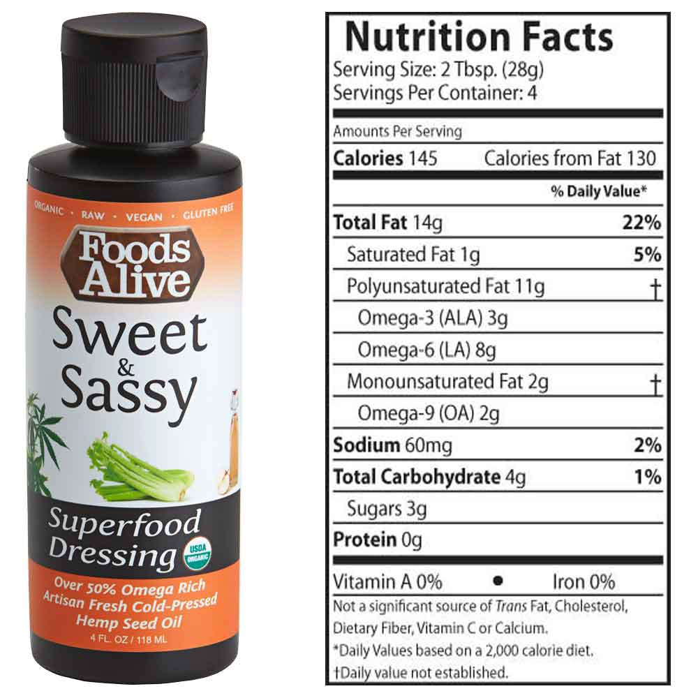 Foods Alive - Sweet and Sassy Organic Hemp Oil Superfood Dressing - 4oz