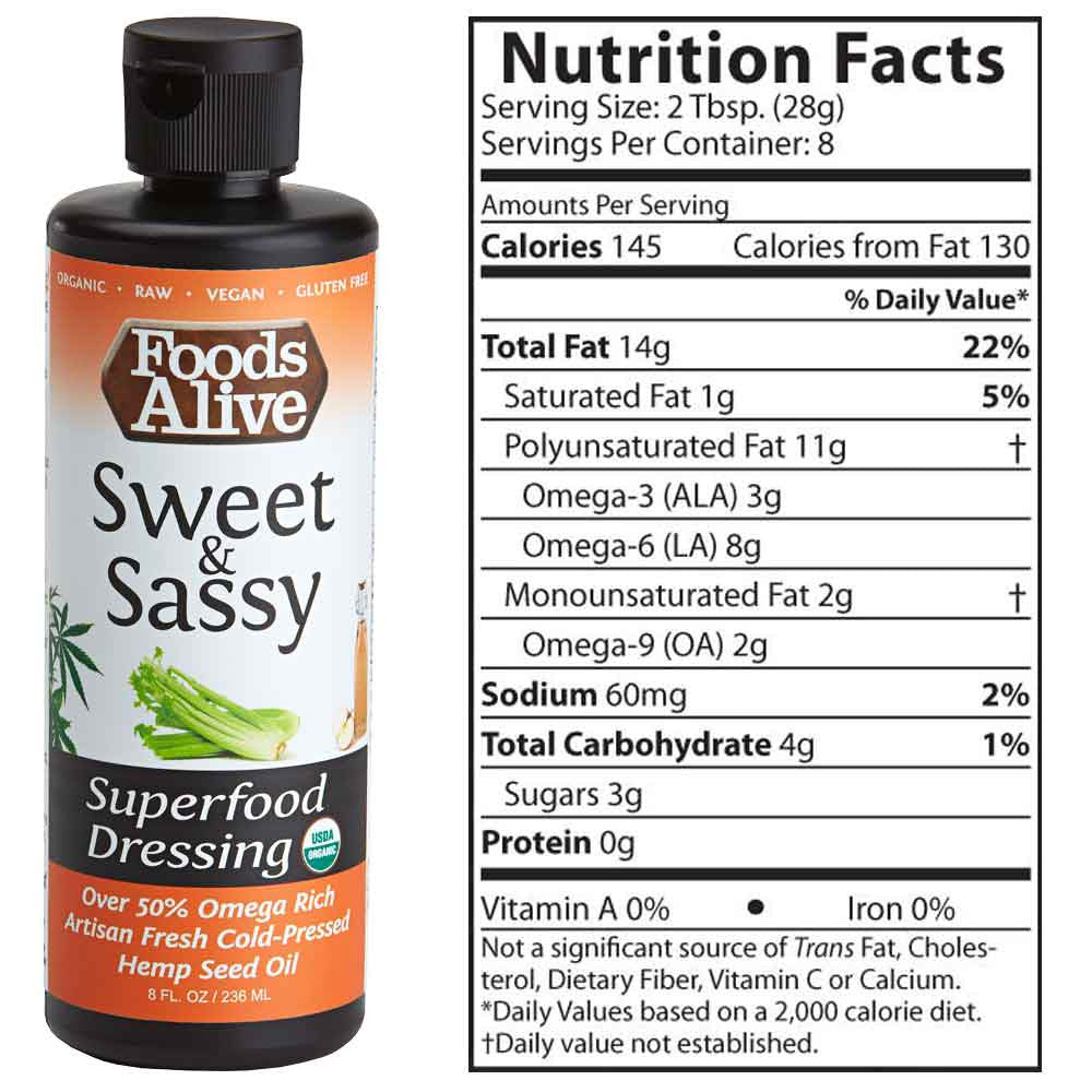 Foods Alive - Sweet and Sassy Organic Hemp Oil Superfood Dressing - oz