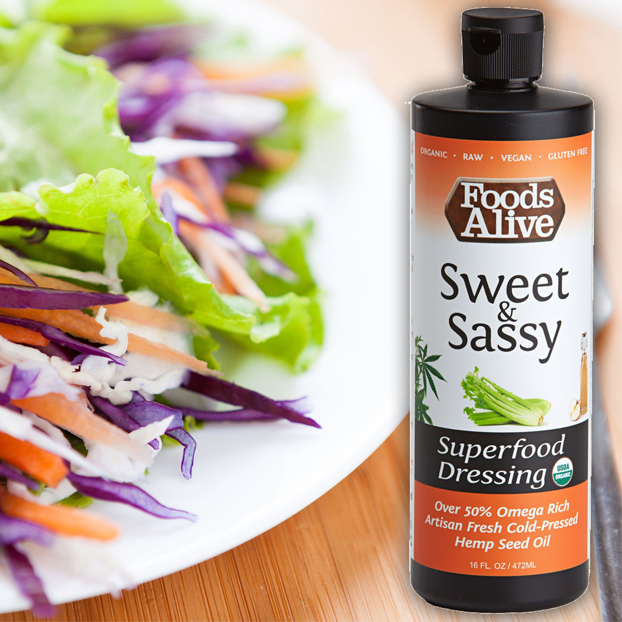 Foods Alive - Artisan Cold-Pressed Sweet and Sassy Organic Hemp Oil Superfood Dressing