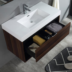 "Dowell 015 Series 36"" Walnut Vanity"