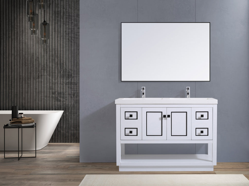 "Dowell 036 Series White and Gold 48"" Bathroom Vanity"