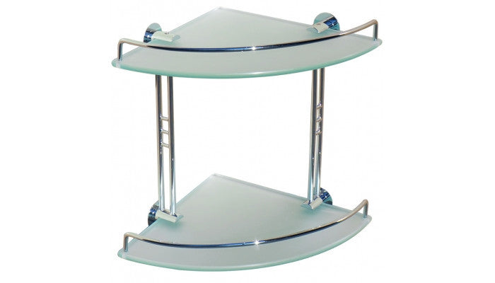 Dowell Bath Glass Shelf Double Corner 2001 001 02