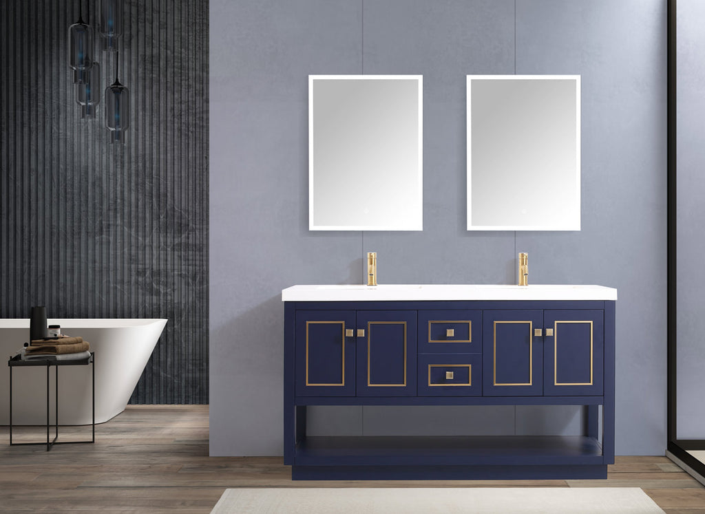 "Dowell 036 Series Blue and Gold 60"" Bathroom Vanity"