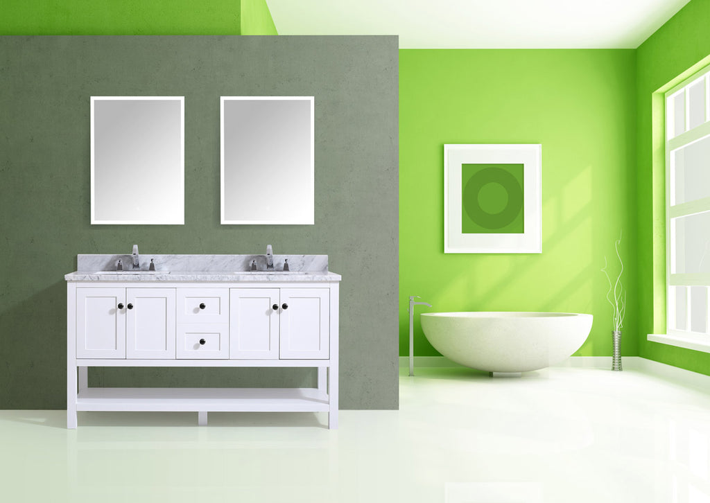 "Dowell 035 Series White 60"" Bathroom Vanity"