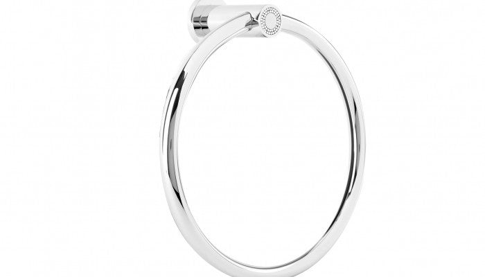 Macral Design Muse Diamond Collection Towel Ring Polished Chrome 12.002-CROM.