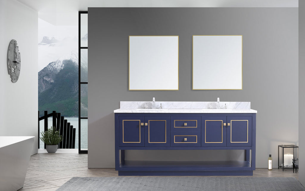 "Dowell 036 Series Blue and Gold 72"" Bathroom Vanity"