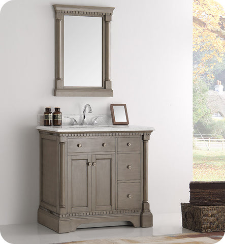 "Fresca Kingston 37"" Traditional Bathroom Vanity with Mirror Antique Silver FVN2236SA"