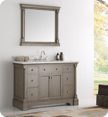 "Fresca Kingston 49"" Traditional Bathroom Vanity with Mirror Antique Silver FVN2248SA"