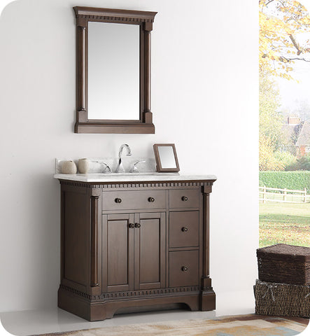 "Fresca Kingston 37"" Traditional Bathroom Vanity with Mirror Antique Coffee FVN2236AC"