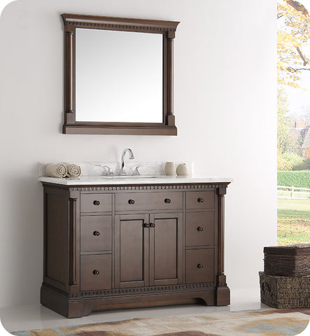 "Fresca Kingston 49"" Traditional Bathroom Vanity with Mirror Antique Coffee FVN2248AC"