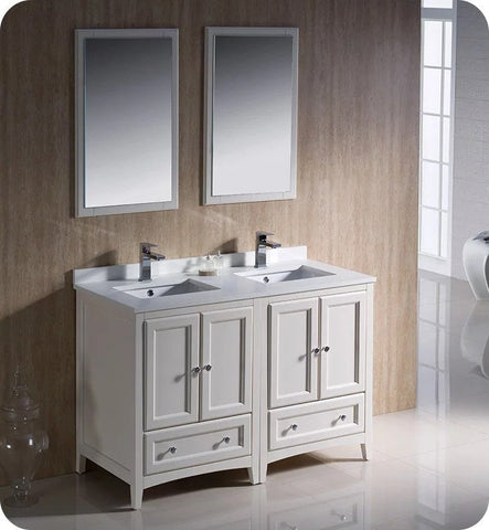 "Fresca FVN20-2424AW Oxford 48"" Traditional Double Sink Bathroom Vanity in Antique White"