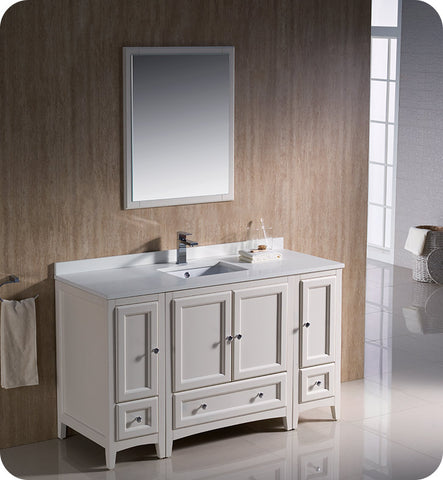 "Fresca FVN20-123012AW Oxford 54"" Traditional Bathroom Vanity with 2 Side Cabinets in Antique White"