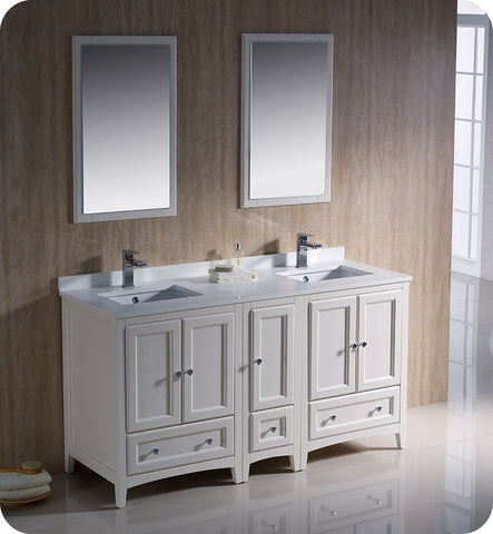 "Fresca FVN20-241224AW Oxford 60"" Traditional Double Sink Bathroom Vanity with Side Cabinet in Antique White"