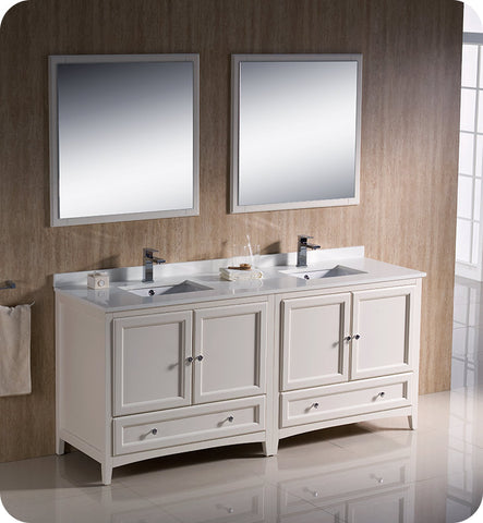 "Fresca FVN20-3636AW Oxford 72"" Traditional Double Sink Bathroom Vanity in Antique White"