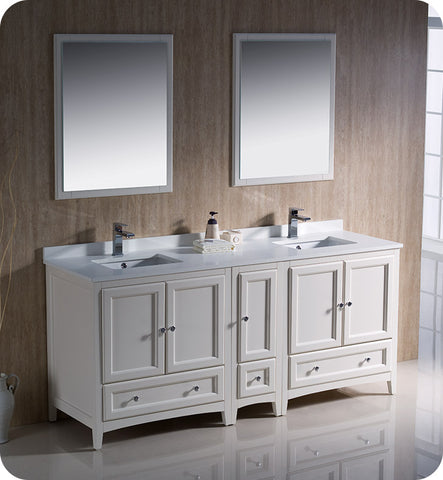 "Fresca FVN20-301230AW Oxford 72"" Traditional Double Sink Bathroom Vanity with Side Cabinet in Antique White"