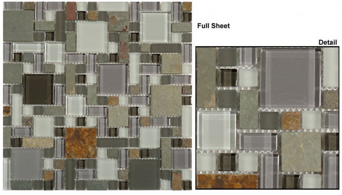 GS24 Northampton Putty Glass & Slate Mosaic