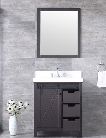 "Marsyas 30"" Brown Single Vanity, White Quartz Top, White Square Sink and 28"" Mirror LM342230SCCSM28"