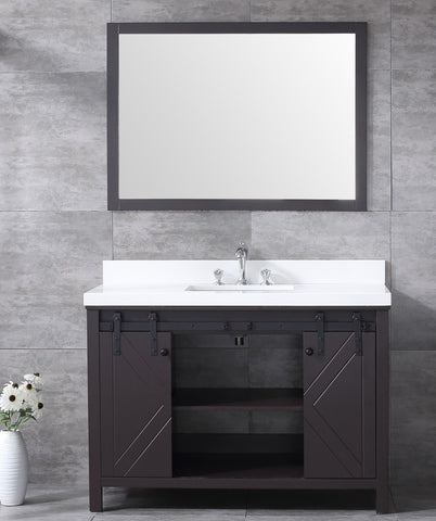 "Marsyas 48"" Brown Single Vanity, White Quartz Top, White Square Sink and 44"" Mirror LM342248SCCSM44"