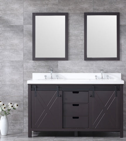 "Marsyas 60"" Brown Double Vanity, Grey Quartz Top, White Square Sinks and 24"" Mirrors LM342260DCCSM24"