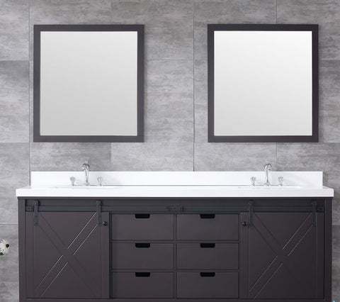 "Marsyas 84"" Brown Double Vanity, White Quartz Top, White Square Sinks and 34"" Mirrors LM342284DCCSM34"
