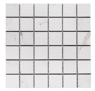 "Merola Tile Calacatta 2"" x 2"" on 12"" x 12"""