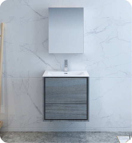 "Fresca Catania 24"" Wall Hung Modern Bathroom Vanity with Medicine Cabinet Ocean Gray FVN9224OG"