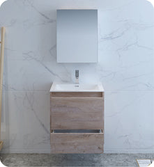 "Fresca Catania 24"" Wall Hung Modern Bathroom Vanity with Medicine Cabinet Rustic Natural Wood FVN9224RNW"