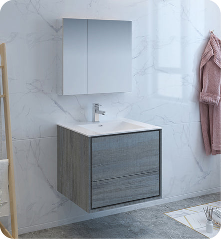 "Fresca Catania 30"" Wall Hung Modern Bathroom Vanity with Medicine Cabinet Ocean Gray FVN9230OG"