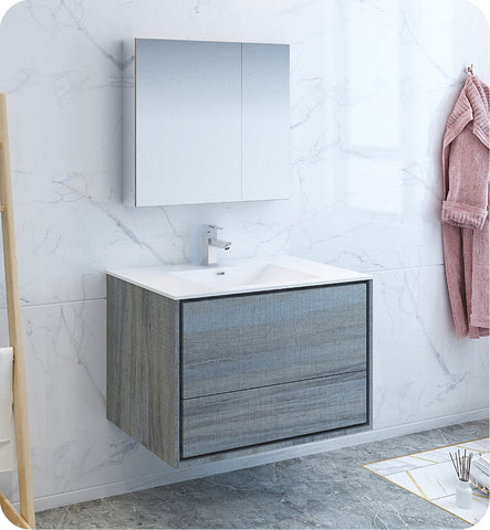 "Fresca Catania 36"" Wall Hung Modern Bathroom Vanity with Medicine Cabinet Ocean Gray FVN9236OG"