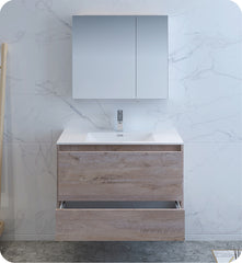 "Fresca Catania 36"" Wall Hung Modern Bathroom Vanity with Medicine Cabinet Rustic Natural Wood FVN9236RNW"