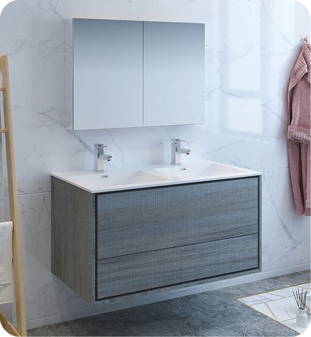 "Fresca Catania 48"" Wall Hung Double Sink Modern Bathroom Vanity with Medicine Cabinet Ocean Gray FVN9248OG-D"