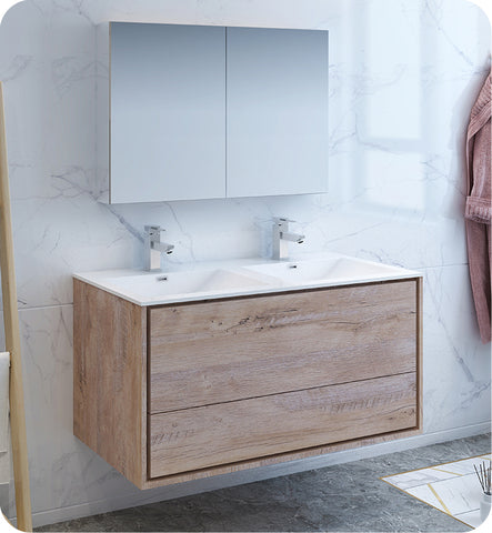 "Fresca Catania 48"" Wall Hung Double Sink Modern Bathroom Vanity with Medicine Cabinet Rustic Natural FVN9248RNW-D"