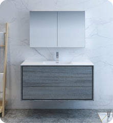 "Fresca Catania 48"" Wall Hung Modern Bathroom Vanity with Medicine Cabinet Ocean Gray FVN9248OG"