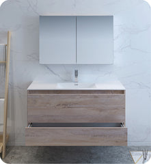 "Fresca Catania 48"" Wall Hung Modern Bathroom Vanity with Medicine Cabinet Rustic Natural FVN9248ONW"