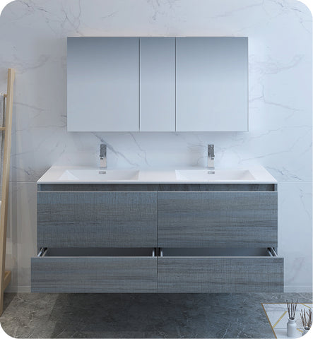"Fresca Catania 60"" Wall Hung Double Sink Modern Bathroom Vanity with Medicine Cabinet Ocean Gray FVN9260OG-D"