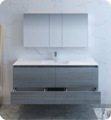 "Fresca Catania 60"" Wall Hung Single Sink Modern Bathroom Vanity with Medicine Cabinet Ocean Gray FVN9260OG-S"