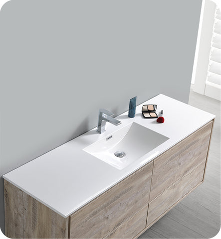 "Fresca Catania 60"" Wall Hung Single Sink Modern Bathroom Vanity with Medicine Cabinet Rustic Natural FVN9260RNW-S"