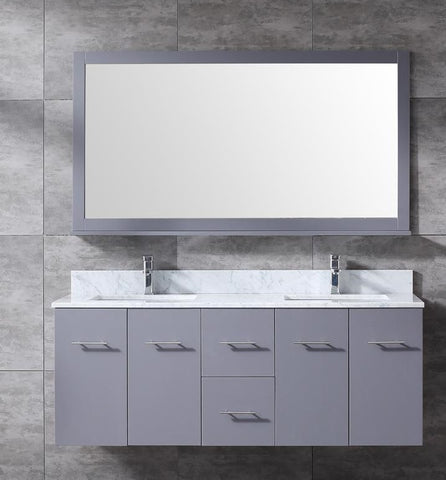 "Amelie 60"" Dark Grey Double Vanity, White Carrara Marble Top, White Square Sinks and 60"" Mirror LA222260DBDSM60"