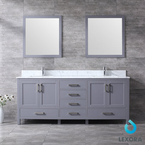"Lexora Jacques 80"" Dark Grey Double Vanity, White Carrara Marble Top, White Square Sinks and 30"" Mirrors LJ342280DBDSM30"