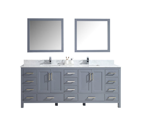 "Lexora Jacques 84"" Dark Grey Double Vanity, White Carrara Marble Top, White Square Sinks and 34"" Mirrors LJ342284DBDSM34"