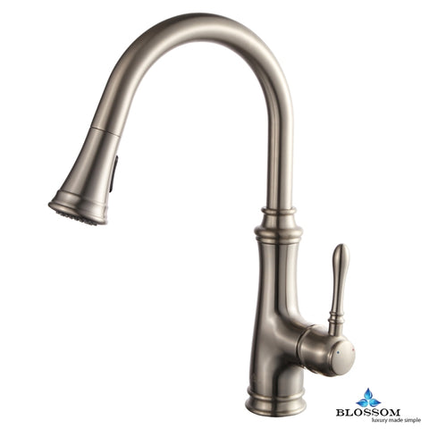 Single Handle Pull Down Kitchen Faucet - Brush Nickel F01 204 02