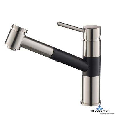 Single Handle Pull Down Kitchen Faucet - Brush Nickel / Black F01 207 04