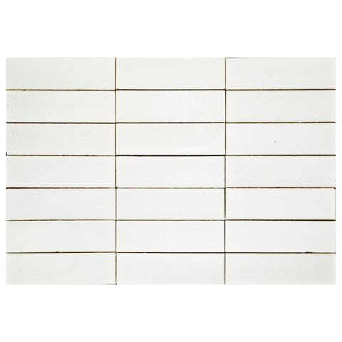 "Hudson Series Gloss White 2"" x 8"" Glazed Brick"