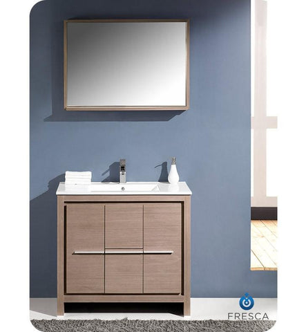 "Fresca Allier 36"" Modern Bathroom Vanity Gray Oak FVN8136GO"