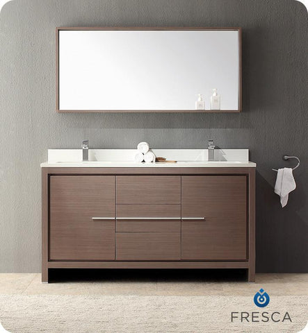 "Fresca Allier 60"" Modern Double Sink Bathroom Vanity Gray Oak FVN8119GO"