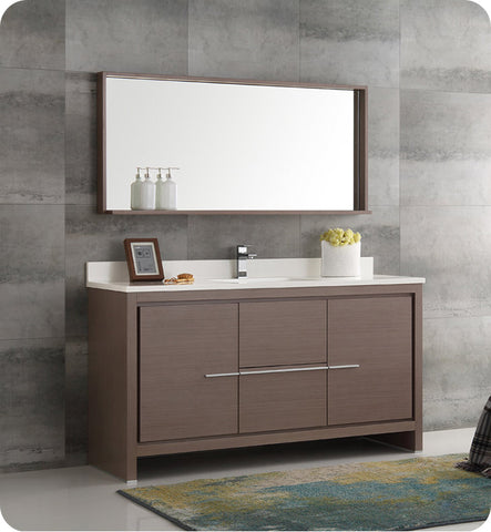 "Fresca Allier 60""Modern Single Sink Bathroom Vanity with Mirror Gray Oak FVN8119GO-S"
