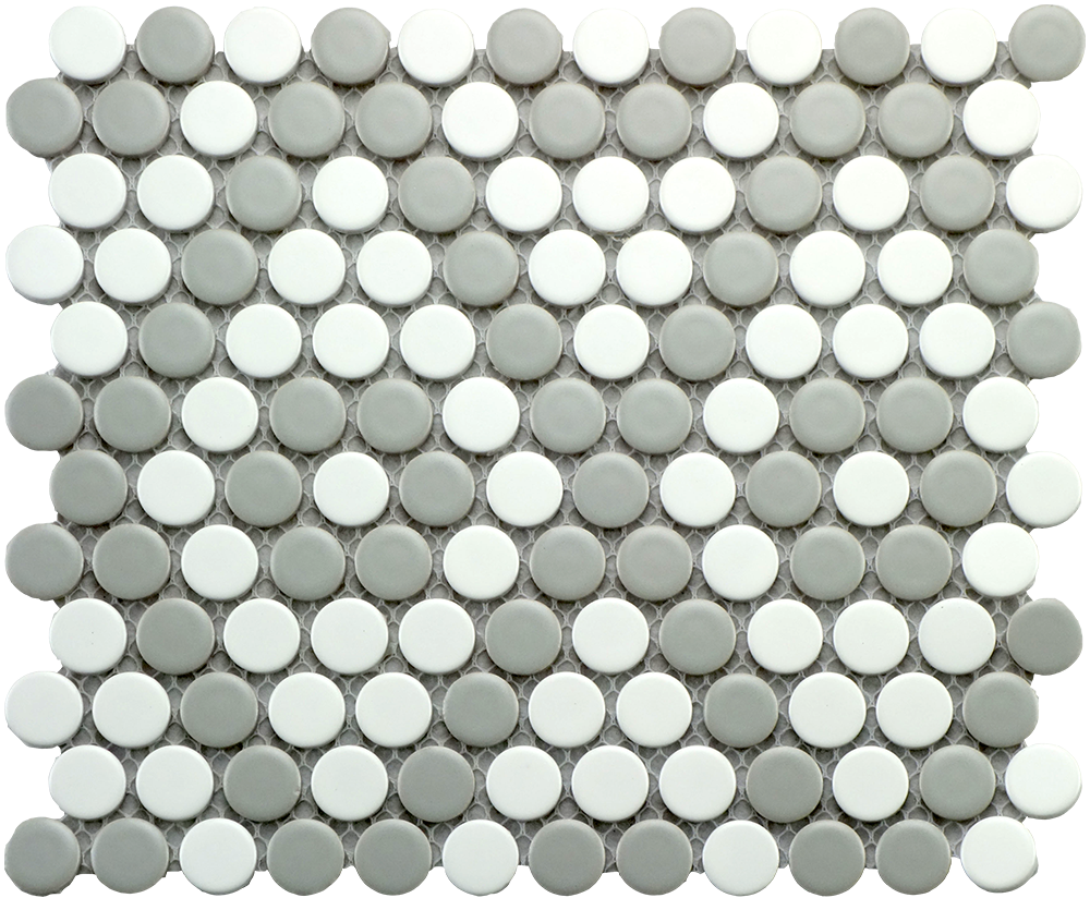 "CC Mosaic Series Gray and White Matte Penny Round on 12"" x 12"" UFCCGRW-12M"